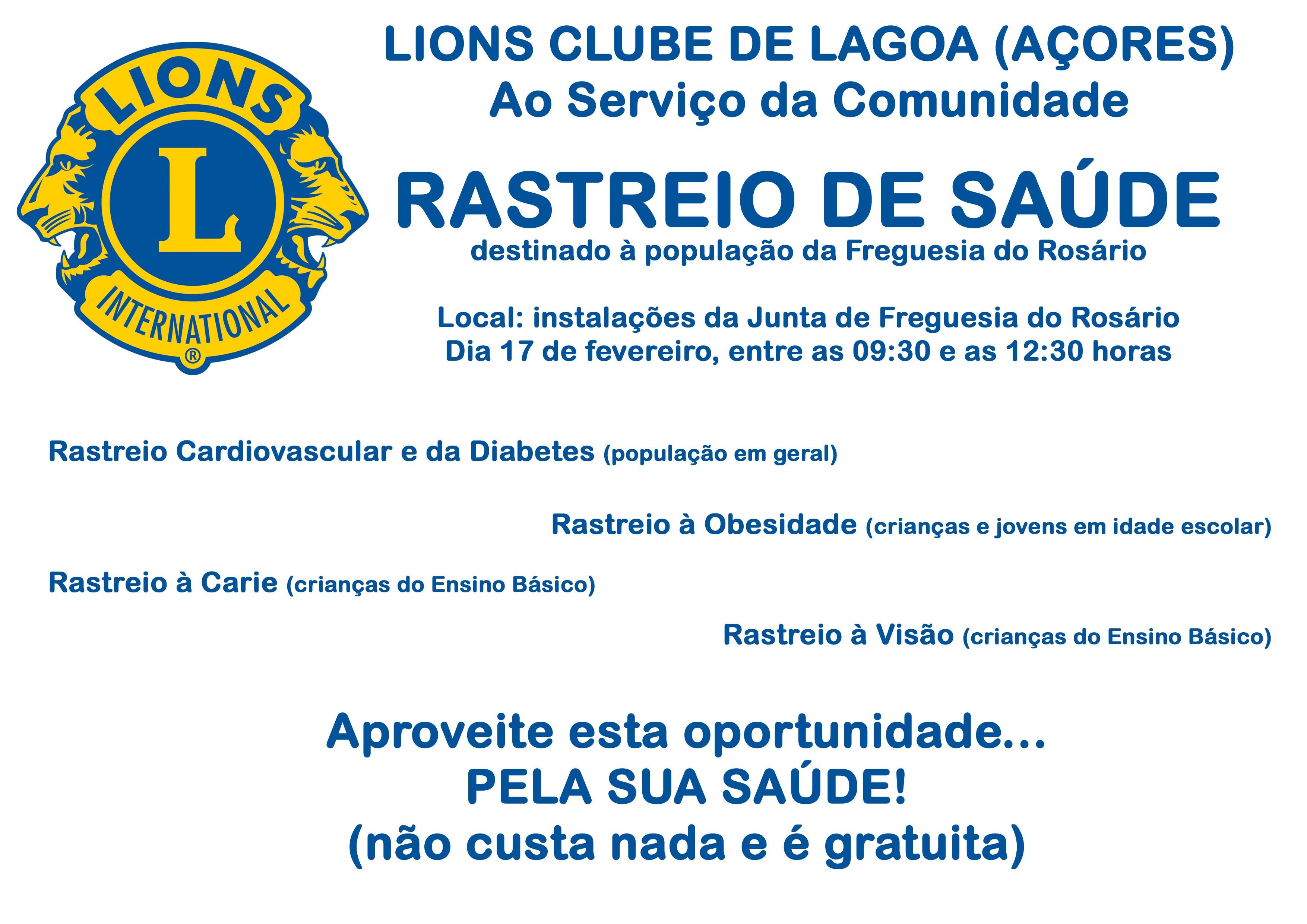 LCLagoa (Açores) - Cartaz informativo do Rastreio de Saúde 2018